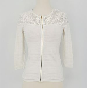 Ann Taylor White Lace Zip Knit Cardigan Sweater
